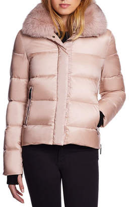 Dawn Levy Vera Mid-Weight Fox-Fur Trim Puffer Jacket