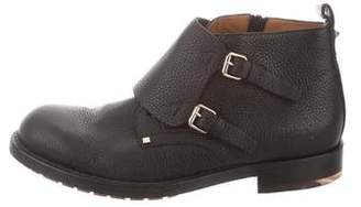 Valentino Grained Leather Double Monk Strap Boots