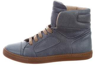 Brunello Cucinelli Leather High-Top Sneakers