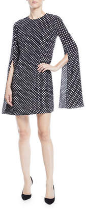 Michael Kors Polka-Dotted Split-Sleeve Dress