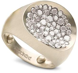 Antonini Matte 18K White Gold Matera Small Pavé Silvermist Diamond Ring