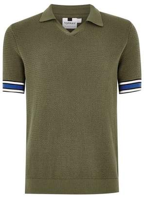 Topman Mens Khaki Revere Polo Sweater