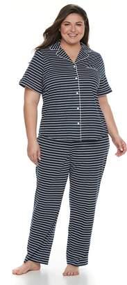 Croft & Barrow Plus Size Printed Shirt & Pants Pajama Set