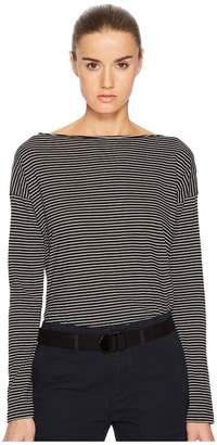 Vince Pencil Stripe Long Sleeve Boat Neck Women's Clothing