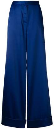 Self-Portrait satin wide-leg trousers