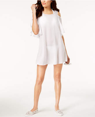 Michael Kors MICHAEL Studded Cold-Shoulder Ruffle Dress Cover-Up