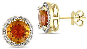 CONCERTO Vault 14K Yellow Gold and Madeira Citrine Halo Stud Earrings with 0.25 TCW Diamond