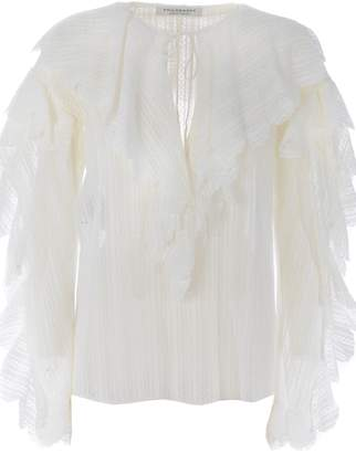 Philosophy di Lorenzo Serafini Ruffled Tie Neck Blouse