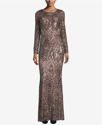Betsy & Adam Geometric Sequined Gown