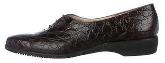 Salvatore Ferragamo Crocodile Round-Toe Oxfords