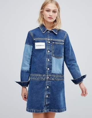 Calvin Klein Jeans denim shirt dress with contrast