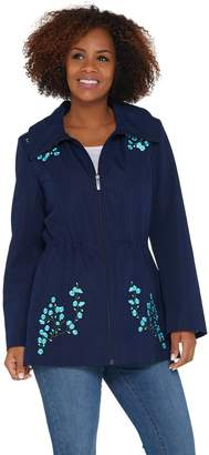 Dennis Basso Water Resistant Embroidered Zip Front Hooded Jacket