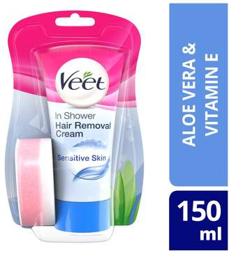 Veet In-Shower Hair Removal Cream with Aloe Vera & Vitamin E for Sensitive Skin 150ml