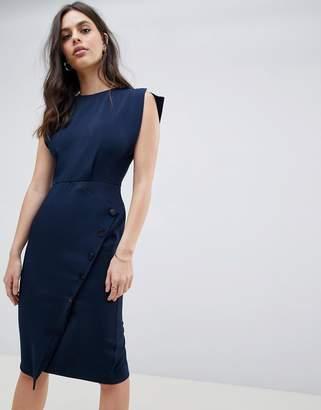Asos DESIGN split cap sleeve button skirt midi dress
