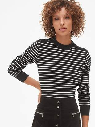 Gap Stripe Long Sleeve Button-Shoulder T-Shirt in Modal