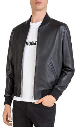 The Kooples Teddy Lambskin Leather Baseball Jacket