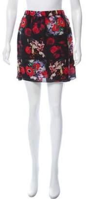 Kenzo Floral Silk Mini Skirt Black Floral Silk Mini Skirt