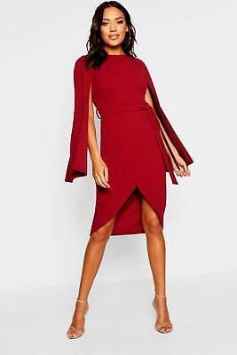 boohoo NEW Womens Cape Sleeve Tie Waist Wrap Midi Dress