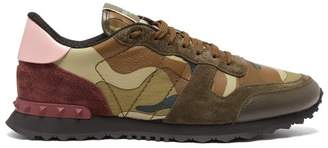 Valentino Rockrunner Canvas And Suede Trainers - Mens - Khaki