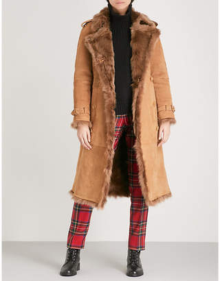 Burberry Women's Dark Camel Brown Tolladne Shearling Coat
