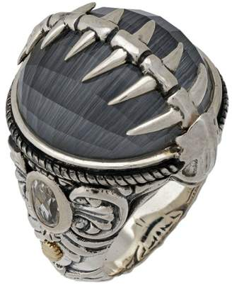Stephen Webster 925 Sterling Silver Jewels Verne Crystal Haze Fish Skeleton Silver Ring Size 6
