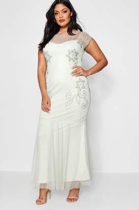 boohoo Plus Boutique Embellished Fishtail Maxi Dress
