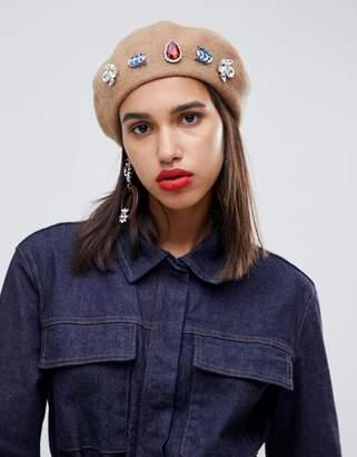 Asos DESIGN embellished beret