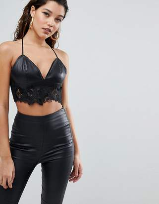2c059b19ea Parallel Lines Bralette In Faux Leather With Lace Trim