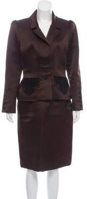Oscar de la Renta Satin Knee-Length Skirt Suit