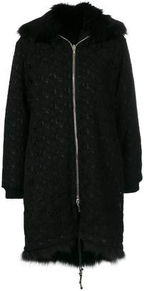Giambattista Valli fur collar zip coat