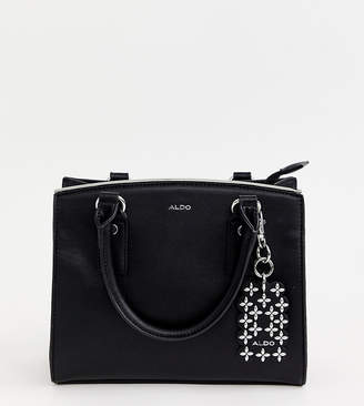 3343ffc8f85 Aldo black minimal structured tote bag