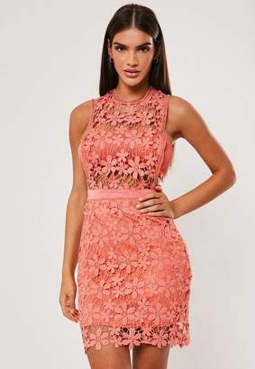 Missguided Coral Daisy Lace Sheer Insert Mini Dress