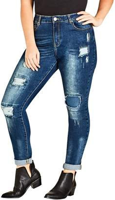 City Chic Patched Apple Skinny Jeans