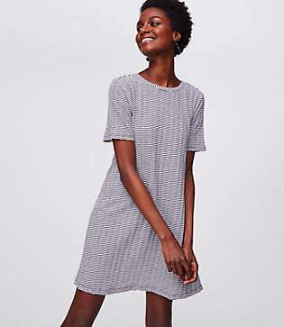 LOFT Petite Bow Back Short Sleeve Swing Dress