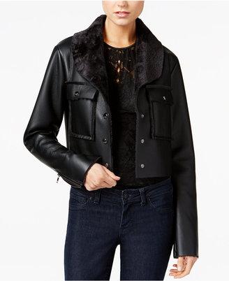 GUESS Suki Faux-Fur-Trim Faux-Leather Jacket $128 thestylecure.com