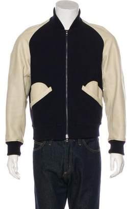 Kent & Curwen Leather Bomber Jacket
