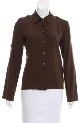 Celine Silk Long Sleeve Button-Up