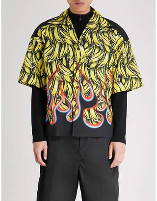 Prada Banana flame-print regular-fit cotton shirt