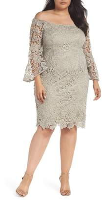 Marina Lace Off the Shoulder Bell Sleeve Dress