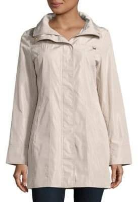 Ellen Tracy Snap Front Packable Raincoat