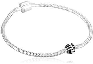 CHARMED BEADS Sterling 3mm Bead with Stopper and Barrel Closure Snake Charm Bracelet