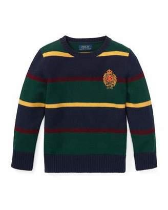 Ralph Lauren Childrenswear Merino Wool Multi-Stripe Crest Sweater, Size 5-7
