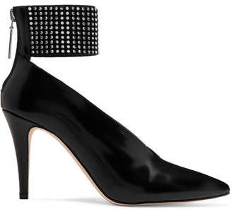 Christopher Kane Crystal-embellished Glossed-leather Pumps - Black