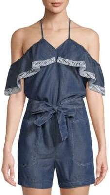 Laundry by Shelli Segal Chambray Cold-Shoulder Romper