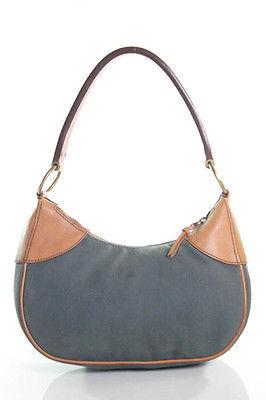 Miu MiuMiu Miu Gray Canvas Leather Trim Medium Shoulder Handbag