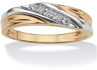 PalmBeach Jewelry Palm Beach Jewelry Men's Round 18k Gold over Sterling Silver Cubic Zirconia Accent Wedding Band Ring