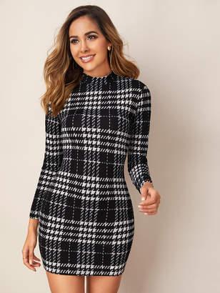 Shein Mock-neck Long Sleeve Plaid Dress