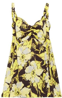 Colville - Shirred Floral Print Crepe Camisole - Womens - Yellow