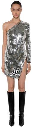 Off-White One Shoulder Sequins Short Dress
