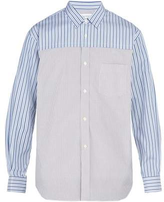 Comme des Garcons Contrast Panelled Cotton Shirt - Mens - Grey Multi
